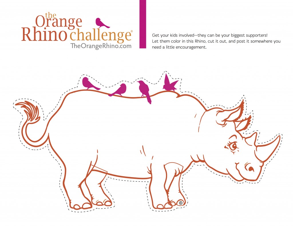 the orange rhino coloring page for kids the orange rhino challenge