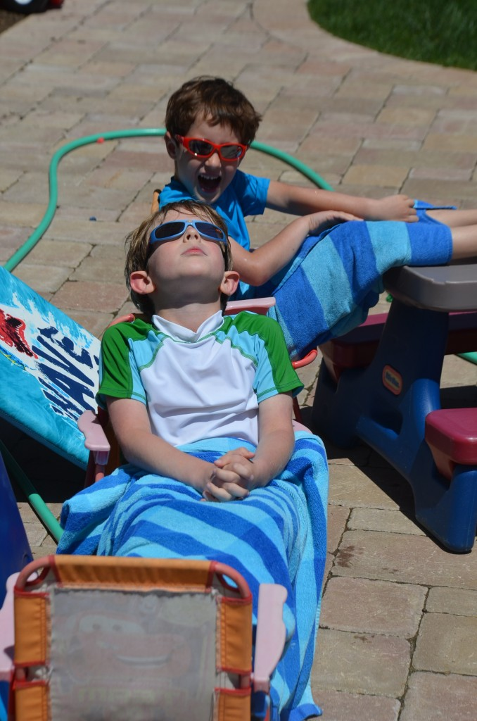 My boys, just chilling, catching some rays. Can you imagine if bedtime was always this relaxed?!!